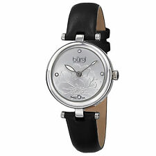 New Women's Burgi BUR128SSB Diamond Markers Etched Flower Dial Black Strap Watch