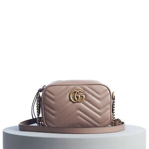 GUCCI 1100$ GG Marmont Matelassé Mini Bag In Dusty Pink Leather