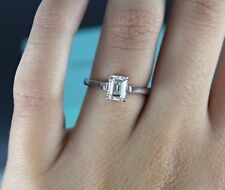 Tiffany & Co 1.06ct H VS1 Emerald Diamond Engagement Ring Band Size 6