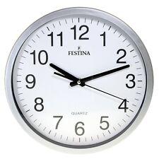 Festina Fc-0106 reloj de pared redondo bisel Plastico color plata esfera blanca