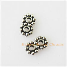 100Pcs Tibetan Silver Tone 2Holes Spacer Beads Bars Charms Connectors 4x7mm