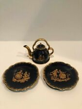 "Limoges France Cobalt with Gold Trim ""The Proposal"" Mini Teapot and 2 Saucers"
