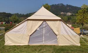Outdoor Waterproof Cotton Canvas Double Door Family Camping Bell Tent 4-Season