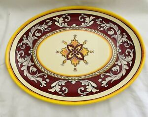 """Le Cadeaux Malaga Red and Yellow 12"""" Serving platter"""