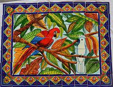 Mexican Talavera Mosaic Mural Tile Handmade Guacamaya & White Cockatoo #11