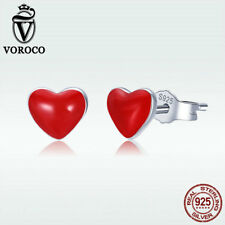 Voroco Hot 925 Sterling Silver Stud Earrings With Red Enamel Heart Charm Jewelry