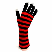 Knitted Long Gloves - Black and Red Stripe - Winter - Christmas Gift Idea