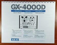 Akai GX-4000D Reel to Reel Tape Deck Owners Manual