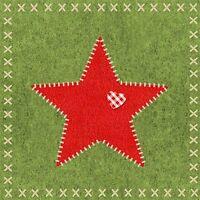 Weihnachten*20 Servietten*Serviettentechnik*Felt Star green*Roter Stern&grün*