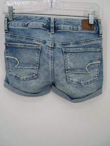 American Eagle Outfitters Women Blue Super Stretch Midi Denim Jean Shorts Size 2