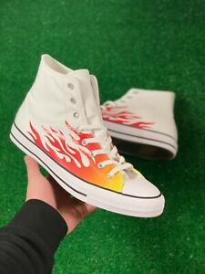 Converse Chuck Taylor All Star Hi Womens Shoe Flames White Red 166257F NEW Multi