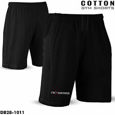 Men Gym Shorts Cotton Workout Training Sports Running Jogging Excercise All Size Black M