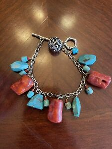 Barse Sterling Silver Turquoise  & Coral Chunky  Bracelet