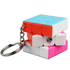 Yuxin Mini 3x3x3 Magic Cube Keychain Colorful Stickerless Speed Cube Puzzle Toy