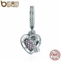 BAMOER LOVE and KEY S925 Sterling silver Charm & Clear CZ For bracelet Jewelry