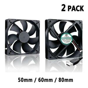 2 Pack DC 5V USB Mini Portable Cooling Fan PC Desktop Computer Silent Cooler