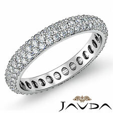 Pave Round Diamond Women Half Eternity Wedding Band 14k White Gold Ring 1.52Ct
