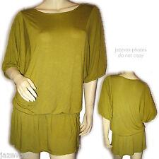 Womens Green Batwing Dolman Blouson Top Blouse XL Rayon Short Sleeve Long Tops