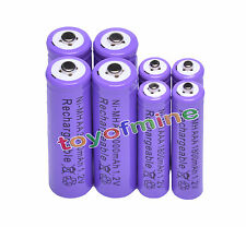 4+4 X AA AAA 1800mAh 3000mAh Rechargeable Battery 1.2V Purple
