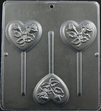 Heart with Rose Lollipop Chocolate Candy Mold Valentine  3045 NEW