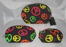 PEACE Signs (3) Makeup Bags Black Pink Green Orange Nesting Yellow New