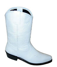 Childrens White Genuine Leather Cowboy Western Boots