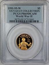 1991-95-W $5 World War II Gold Commemorative, PCGS PR-69 Deep Cameo, US Vault