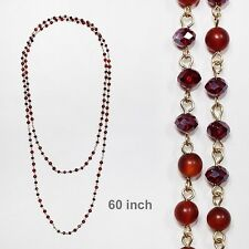 """60"""" Long Red Stone and Crystal Beaded Wrap Around Necklace 8mm"""