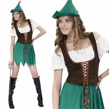 WOMENS LADIES ROBIN HOOD MEDIEVAL MAID MARION COSTUME FANCY DRESS PARTY BOOK DAY