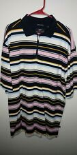 Callaway Golf Polo Stretch Pique 1/4 Zip Xl Short Sleeve Striped