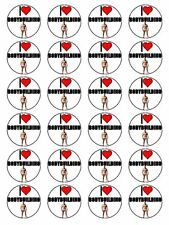 "x24 1.5"" I Love Bodybuilding & Body Builder Cupcake Topper On Rice Paper"