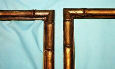 Pair of Vintage Bamboo Look Gold Leaf Wood Picture Art Frames Mid Century 6 x 7