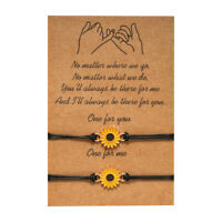 Sunflower Friendship Lover Couple Charm Card Wish You Me Promise Bracelet Gift