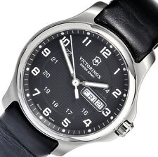 Victorinox Men's Analog Black Leather Stainless Steel Swiss Made Watch 241549