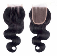3 Way Parting Lace Top Closure 6A Brazilian Remy Human Hair Bleached Knots
