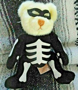 "Russ Berrie RATTLES Skeleton Halloween Bear Plush Doll Stuffed Animal 9"""