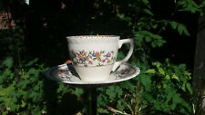 Cream floral Myott Staffordshire Tea Cup Ceramic Seed Bird Feeder Steel Garden