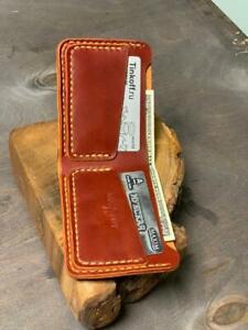 Men's Genuine Leather Wallet Handmade Bifold Credit Card ID Holder Purse Orange