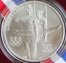 1995 D Olympics Gymnast UNCIRCULATED 90% Silver Dollar $1 Coin Box and COA