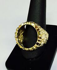 14K Gold Men's 27 MM NUGGET RING -Mounting Only - to fit 1/4 Oz American Eagle