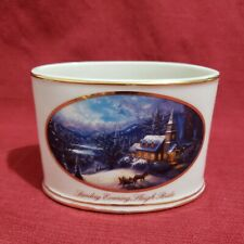 2004 Thomas Kinkade Sunday Evening Sleight Ride Morgan Hill oval bowl