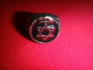 Jewish DAVID Star Silver Tone Stainless Steel Ring, Size 11