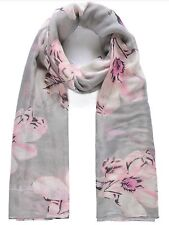 Grey and Pink Floral Print, Scarves Shawl
