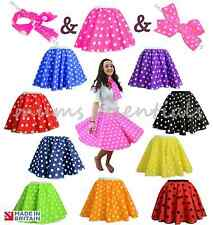 Ladies POLKA DOT ROCK N ROLL 50s SKIRT & SCARF FANCY DRESS COSTUME Hen Party UK