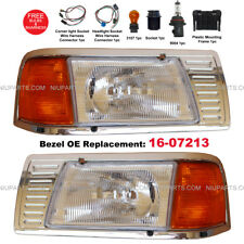 Headlight w/ Adjusters, Corner Lamp & Bezel Chrome 16-07213 LH RH Peterbilt 377