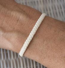 Bracelet brésilien amitié fil de coton ciré tresse porte bonheur Blanc 21152