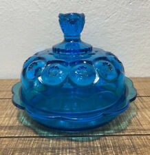 Vintage L E Smith Moon And Star Large Blue  Round Covered Butter Cheese Dish EUC