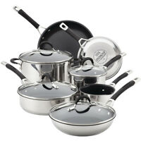 Circulon Momentum Stainless Steel Nonstick 11-Piece Cookware Set in Silver