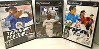 3 PlayStation 2 Games MLB 08 THE SHOW, FIFA SOCCER 2005, TIGER WOODS PGA TOUR 07