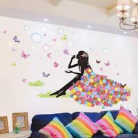 Princess Butterfly Bubbles Vinyl Wall Decal Nursery Baby Room Decor Art Sticker